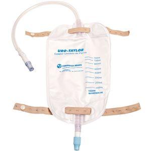 Bolsa Coletora de Urina Uro-Taylor de Perna Sistema Fechado com Válvula Antirrefluxo e Clamp Pinça 750ml com 1un. Taylor