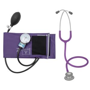 Kit Enfermagem Esteto Spirit Pro-lite Violeta + Aparelho de Pressão P.A.Med Adulto Nylon Velcro Roxo
