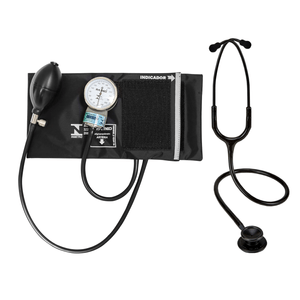 Kit Enfermagem Esteto Spirit Pro-lite Black Edition + Aparelho de Pressão P.A.Med Adulto Nylon Velcro Preto